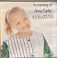 IN MEMORY OF ANNA CARTER, 13 YEARS OLD
