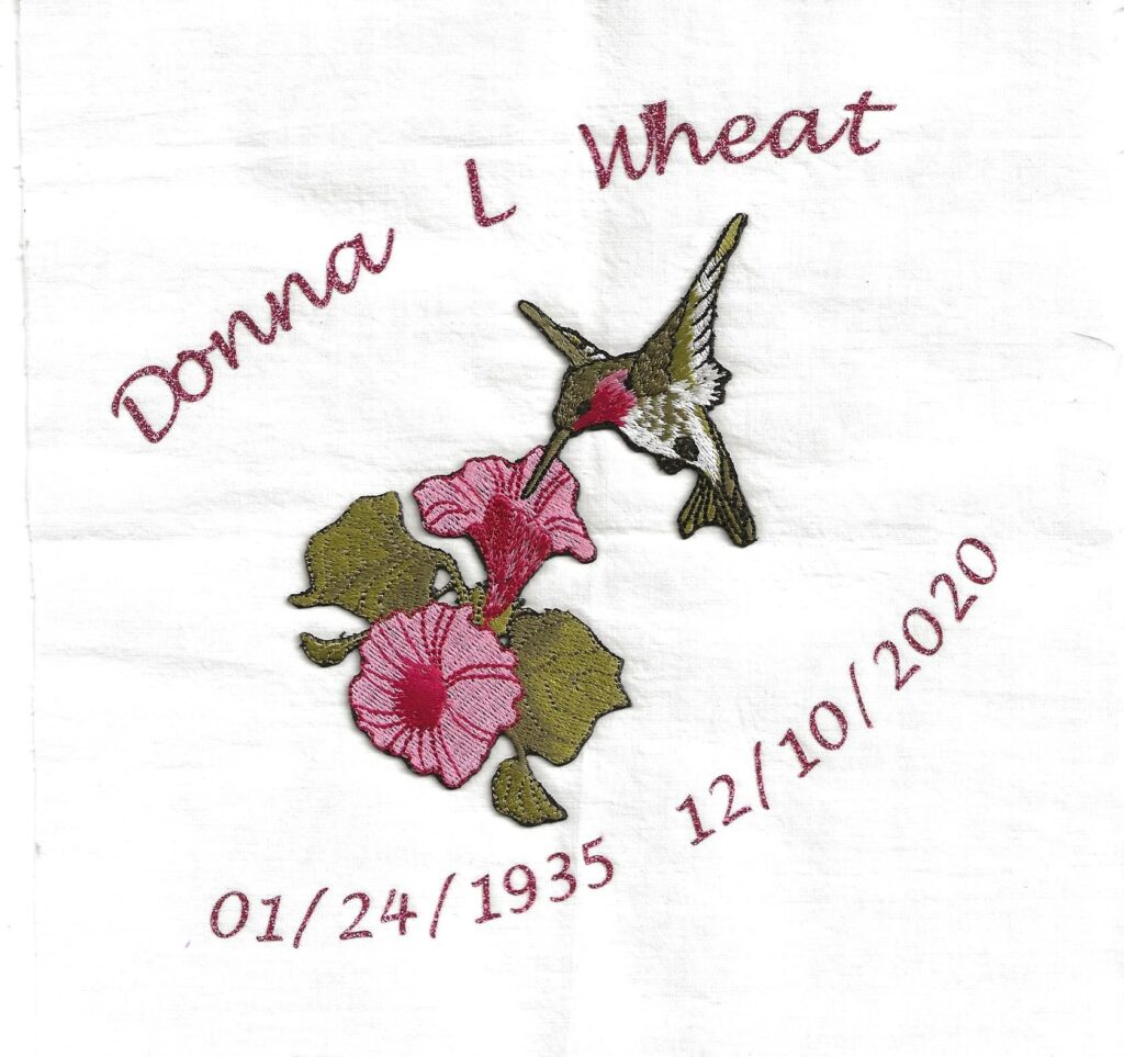 IN MEMORY OF DONNA L. WHEAT - 01/24/1935 - 12/10/2020
