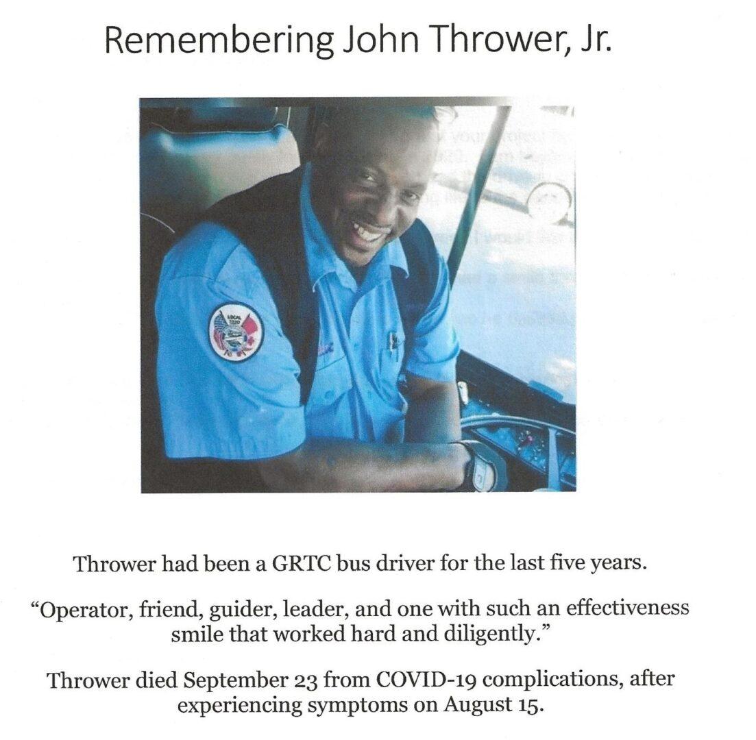 IN MEMORY OF JOHN THROWER, JR.