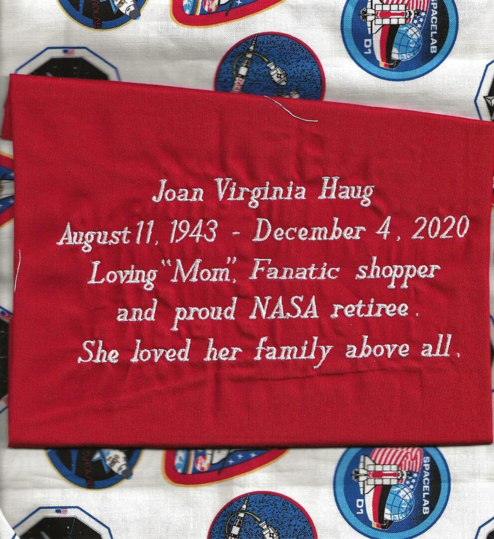 IN MEMORY OF JOAN VIRGINIA HAUG - AUGUST 11, 1943 - DECEMBER 4, 2020