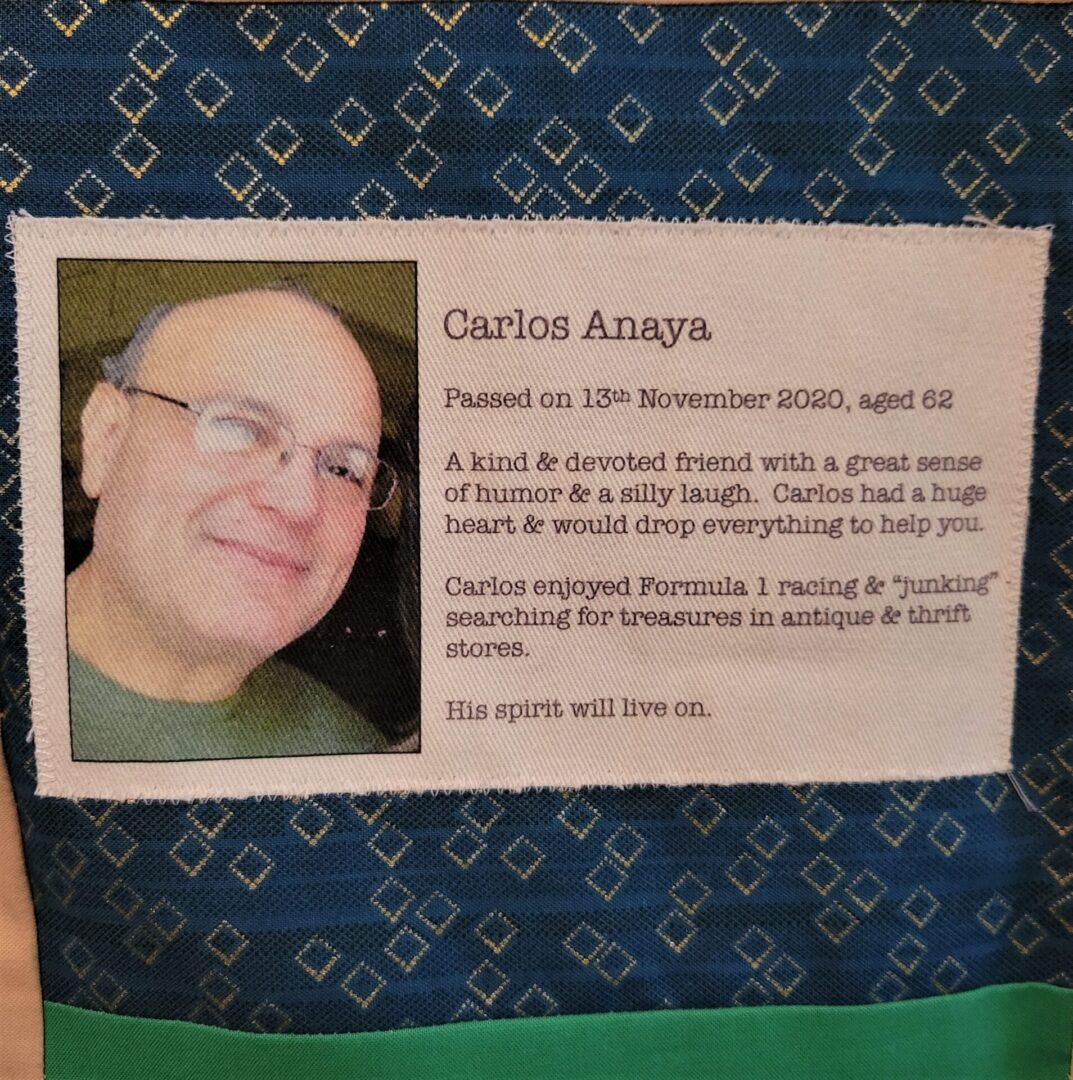 IN MEMORY OF CARLOS ANAYA - NOVEMBER 13, 2020